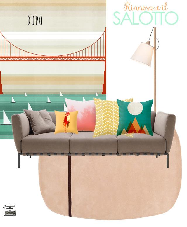 Rinnovare il salotto grigio con cuscini e accessori - risultato finale.