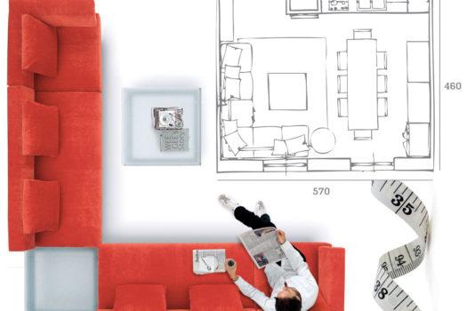 Prendere le misure per scegliere il divano nuovo.
