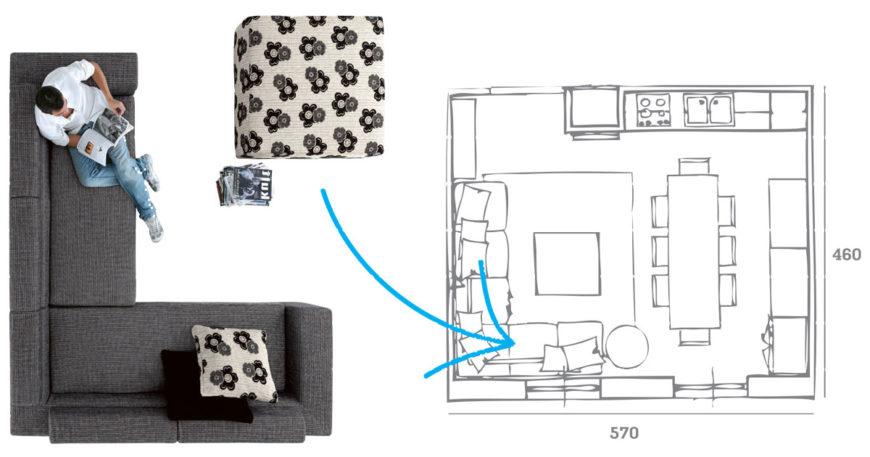 Progettare lo spazio per scegliere il divano.