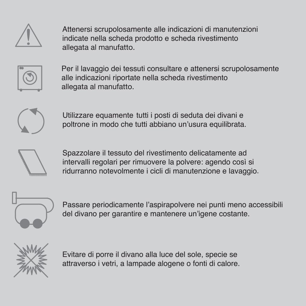 Simboli manutenziuone tessuti per divani - foto 1.
