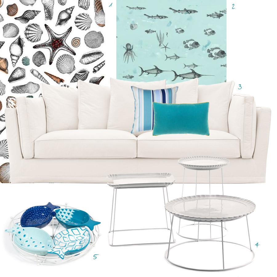 arredare casa al mare con divano bianco e accessori