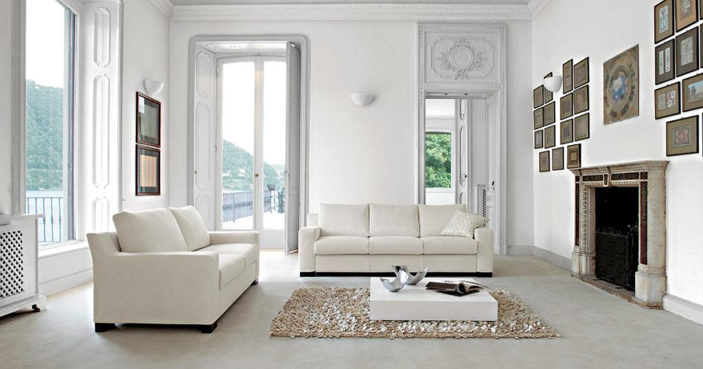 Guida al colore delle pareti in soggiorno: il bianco e i toni neutri.