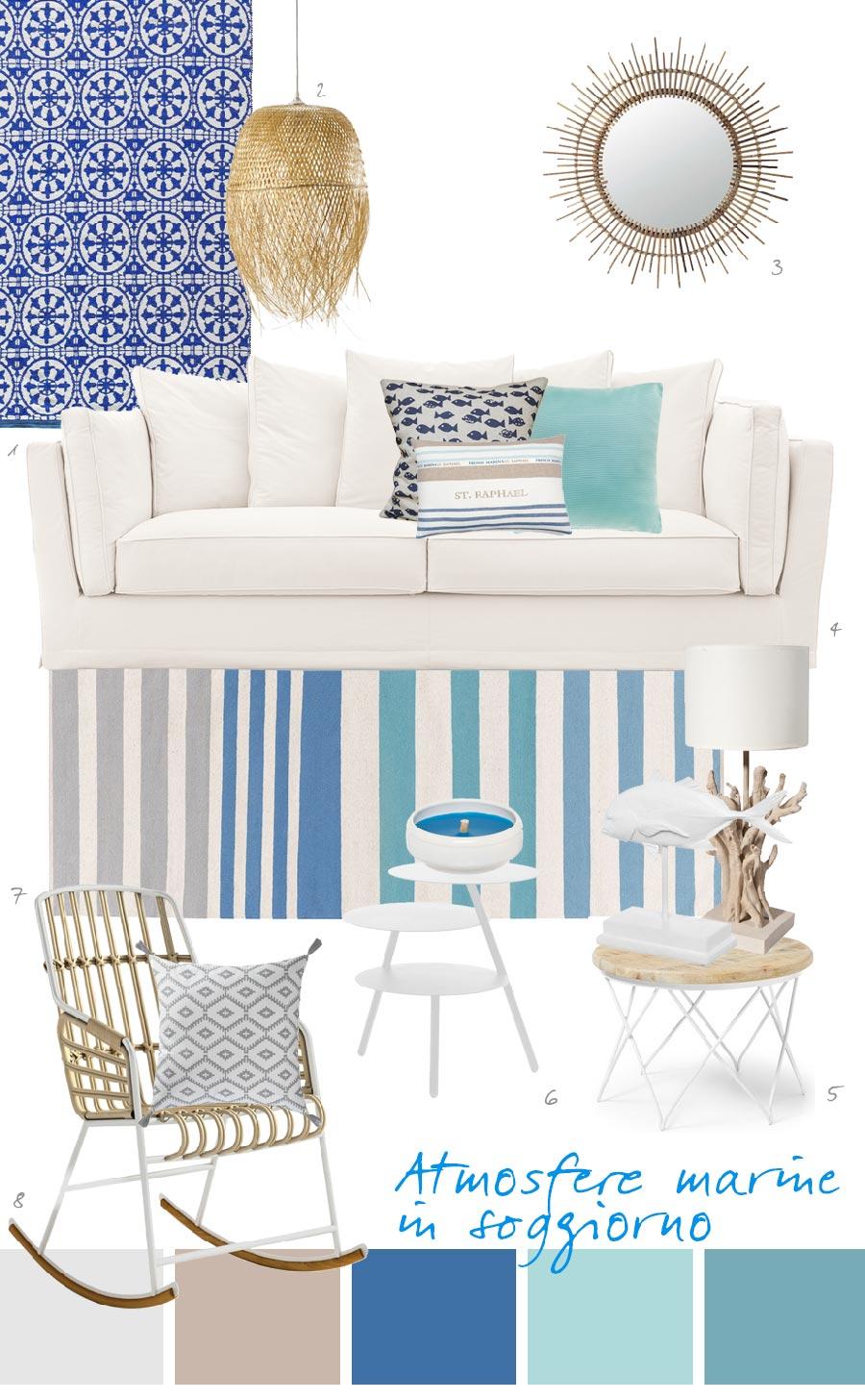 Arredare casa al mare con divano bianco e accessori for Letti per casa al mare