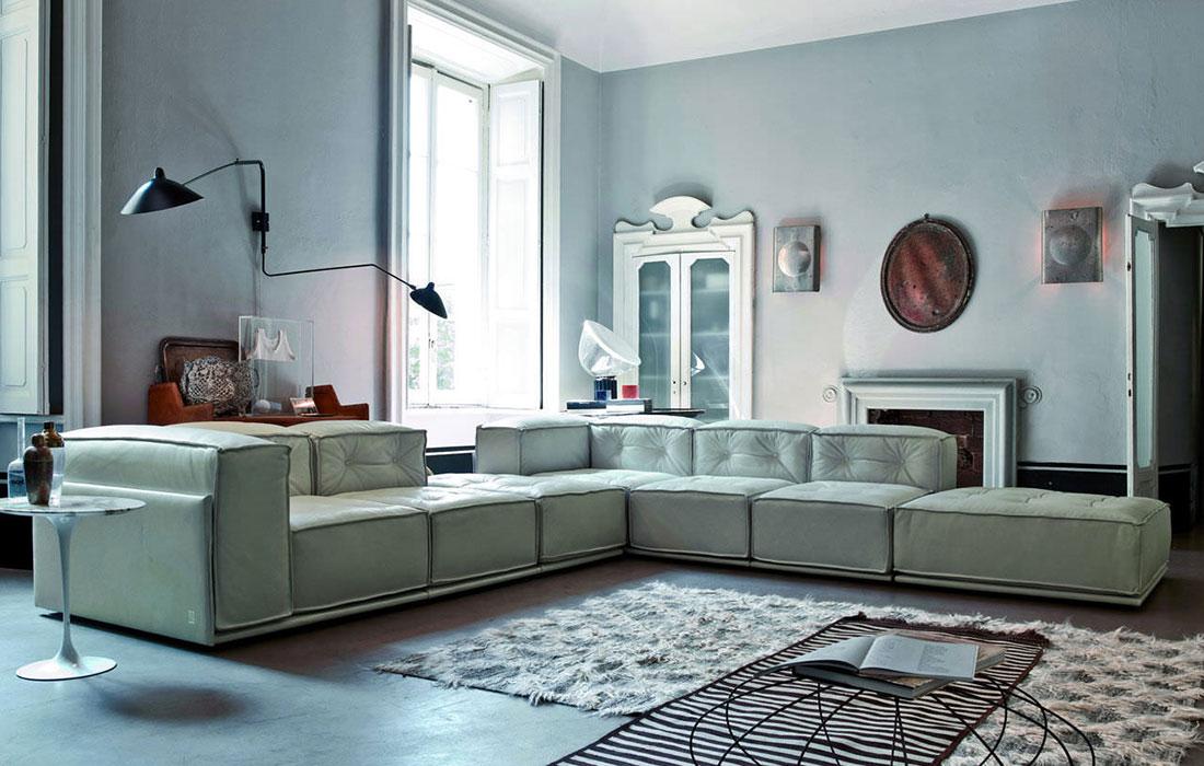 Doimo Salotti pelle divano design angolo modello Glamour.