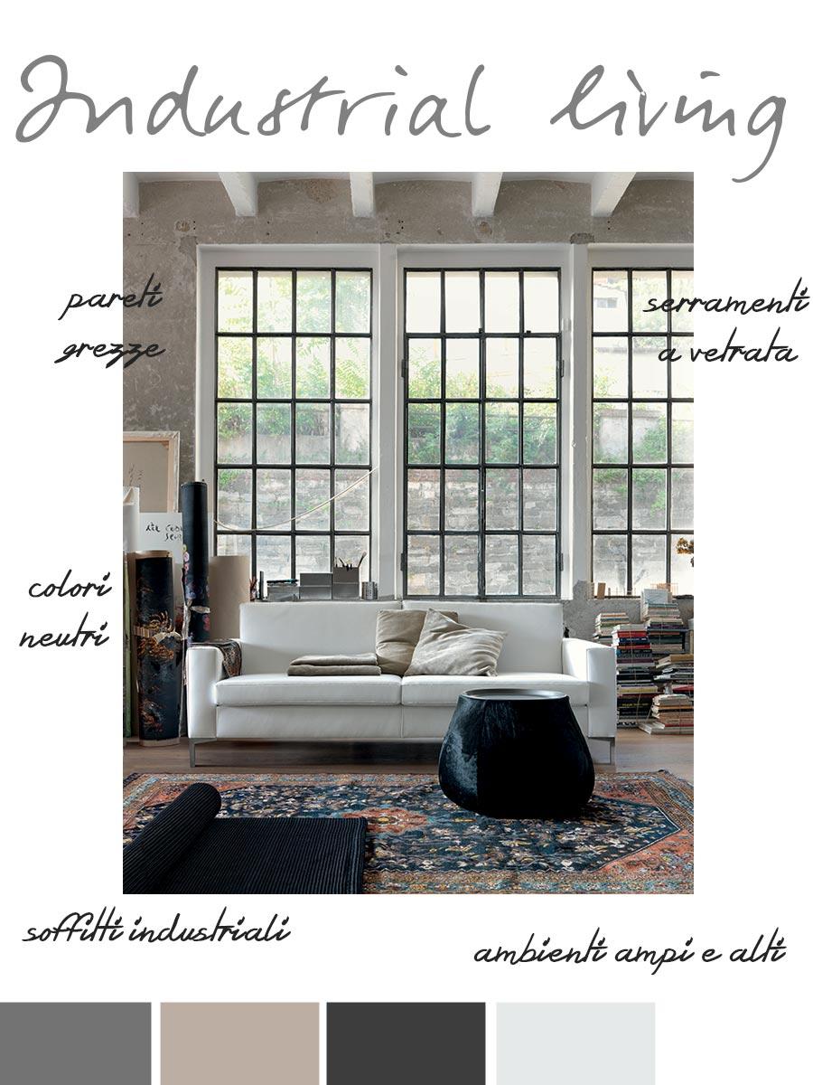 Stile industrial per il soggiorno.