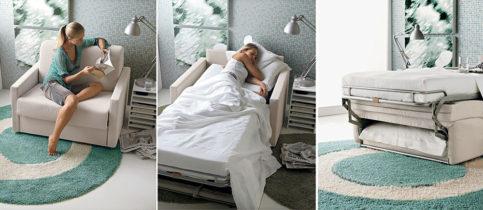 Poltrone letto design : 5 stili tra cui scelgiere. Questo modello è di Doimo.