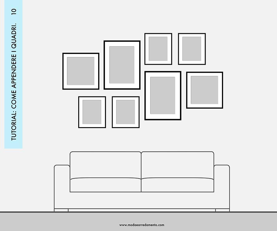 Decorare le pareti del soggiorno con foto e quadri: composizione 10 - idee da copiare.