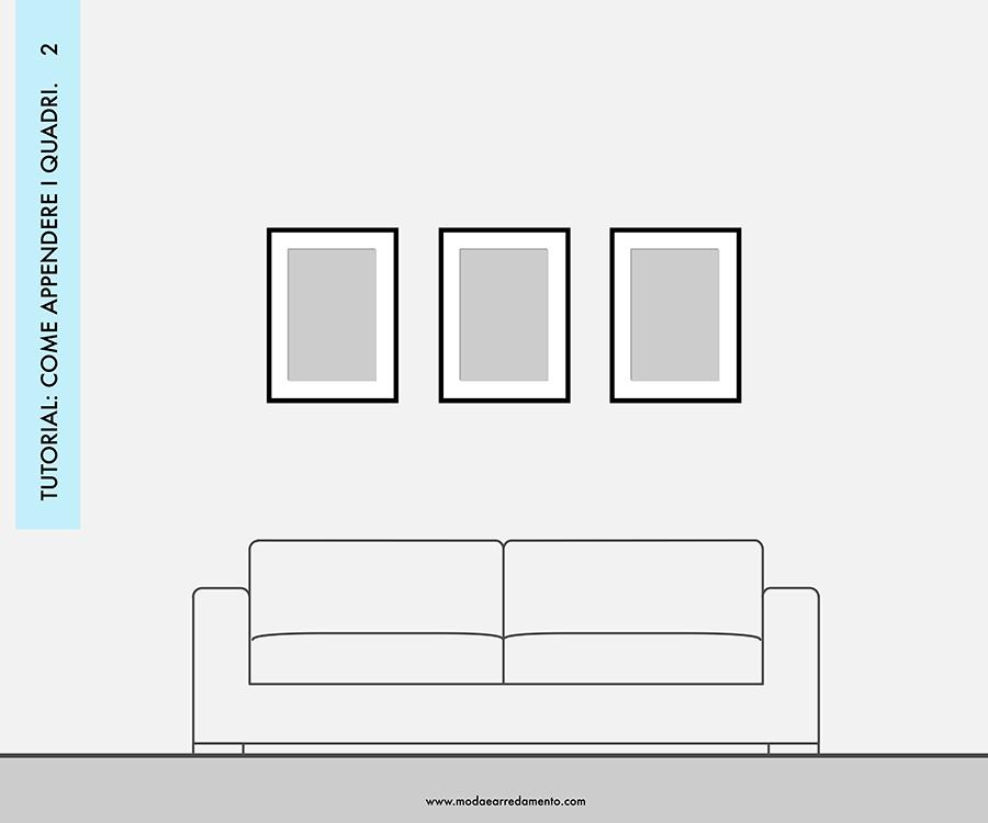 Decorare le pareti del soggiorno con foto e quadri: composizione 2 - idee da copiare.