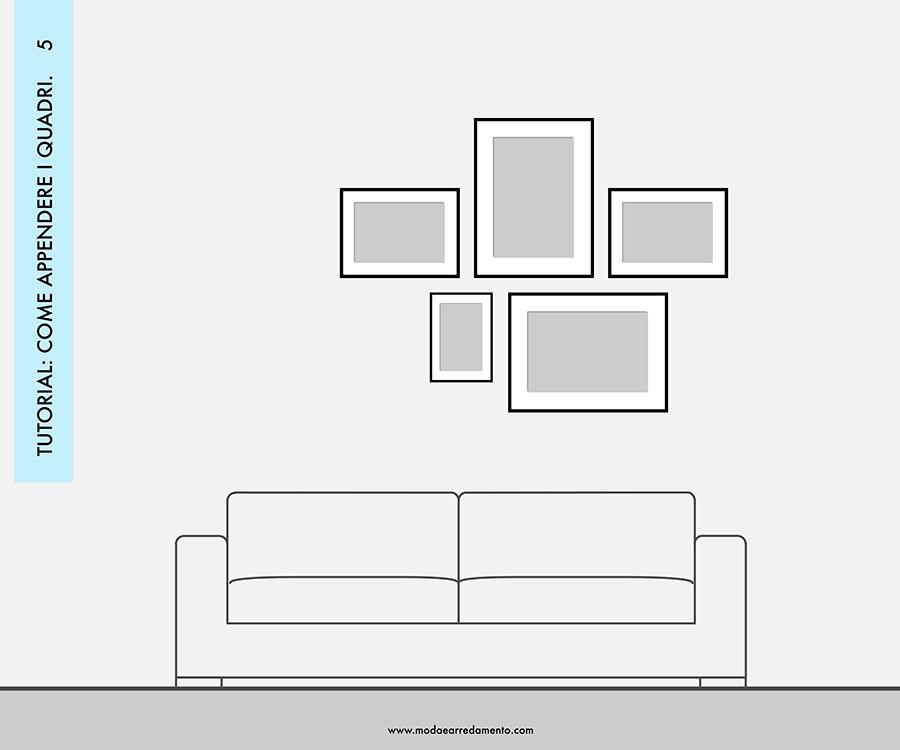 Decorare le pareti del soggiorno con foto e quadri: composizione 5 - idee da copiare.
