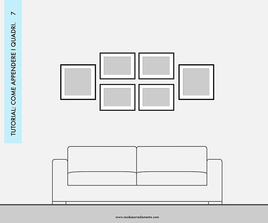 Decorare le pareti del soggiorno con foto e quadri: composizione 7 - idee da copiare.