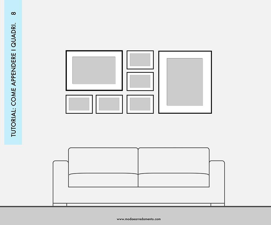Decorare le pareti del soggiorno con foto e quadri: composizione 8 - idee da copiare.