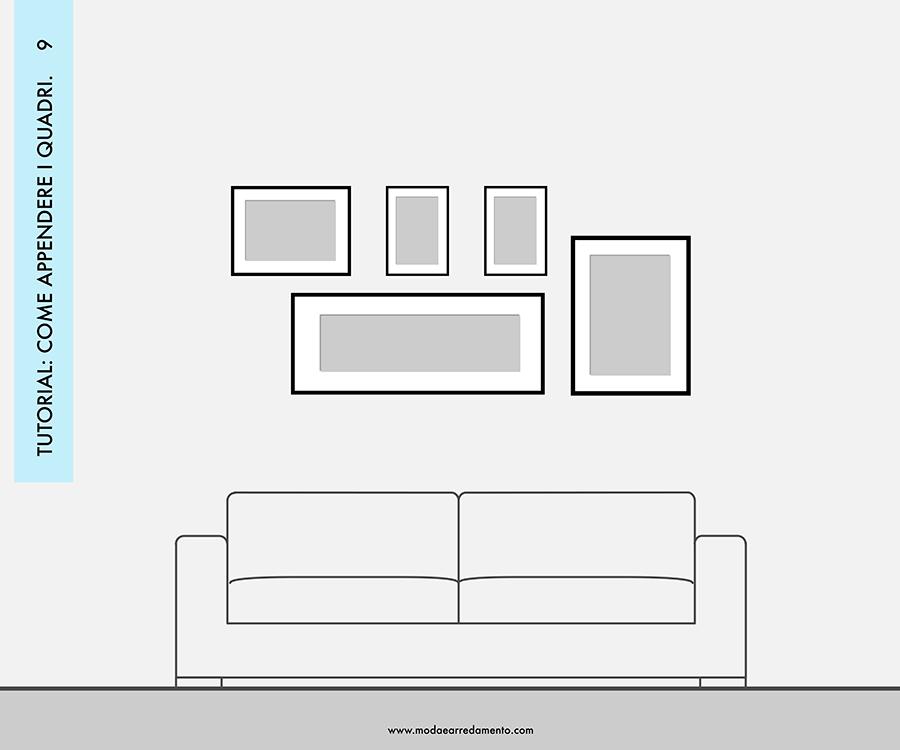 Decorare le pareti del soggiorno con foto e quadri: composizione 9 - idee da copiare.