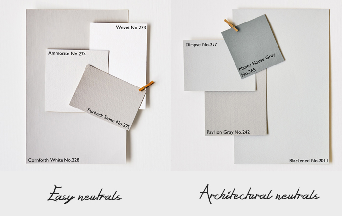 Farrow and ball - pitture murali - scala cromatica di grigi, Easy neutrals e architectural neutrals.