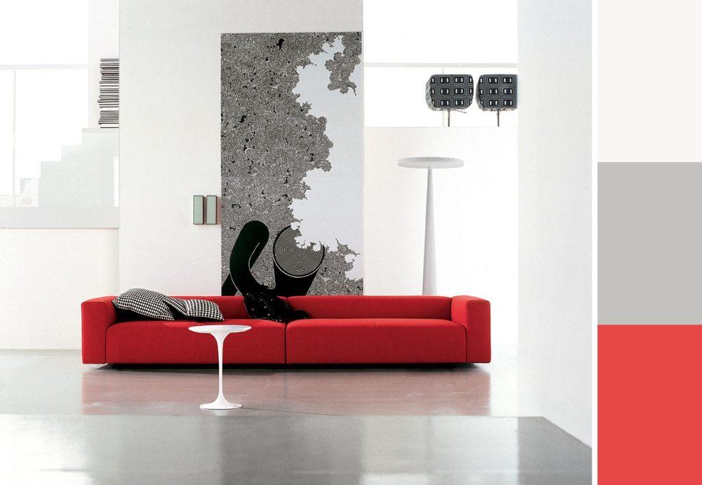 arredare il soggiorno con un divano rosso. | salotto perfetto - Colori Per Soggiorno Moderno 2
