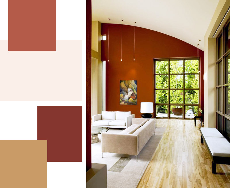 usare il viola e il rosso per le pareti del soggiorno