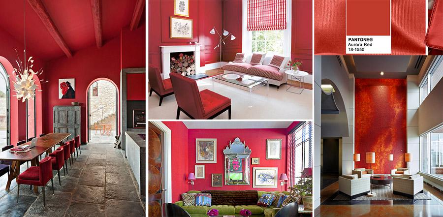 Esempi di sale da pranzo e soggiorno con parete dipinta di rosso vivo.