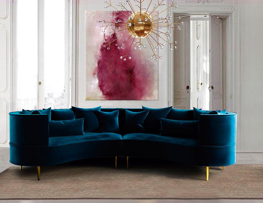 Divano in velluto tendenza arredo 2017 salotto perfetto for Divano velluto blu