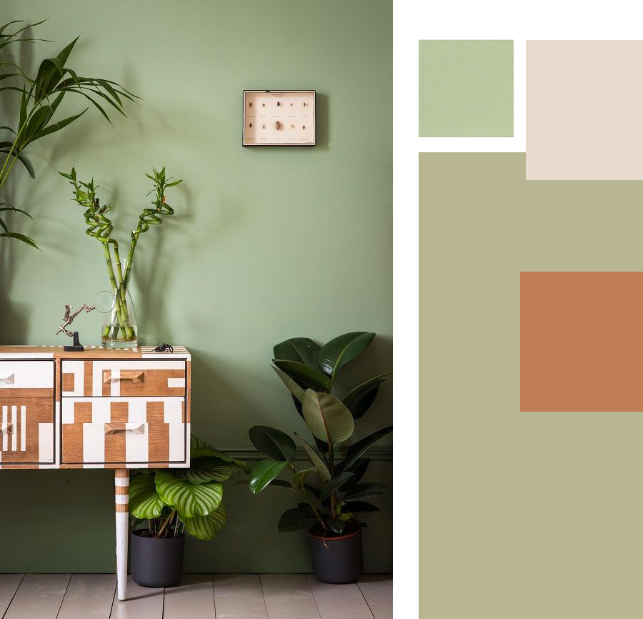 Paletta colori verde salvia per il soggiorno e la zona pranzo.