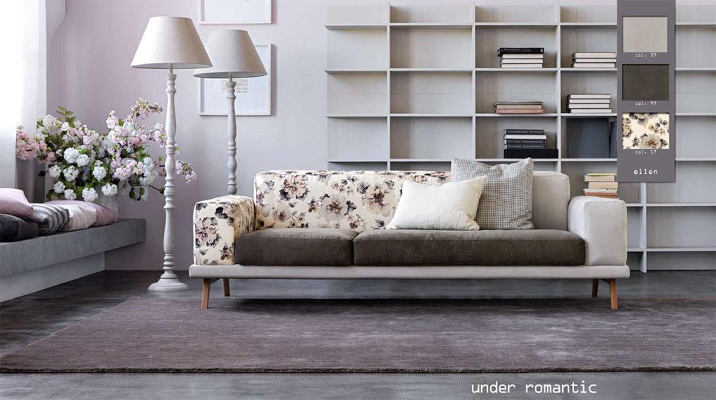 Under Doimo divano romantico con tessuto shabby country.