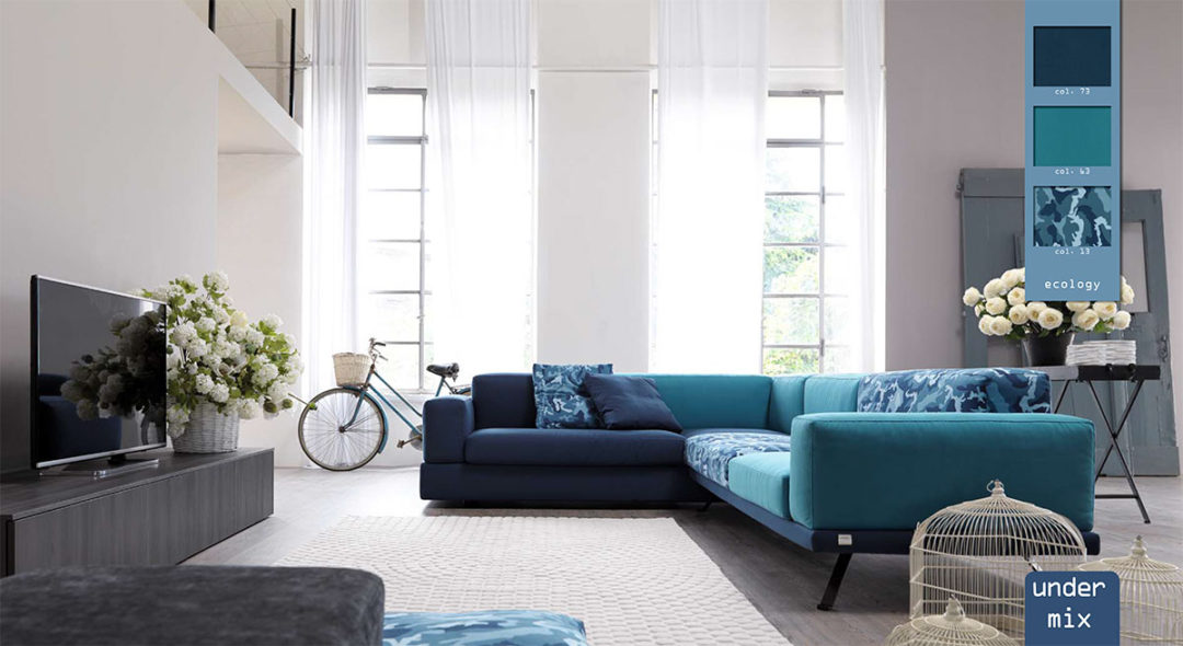 Under doimo divano componibile con tessuto mix.