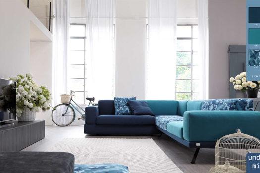 Come arredare un salotto moderno con un divano giovane.