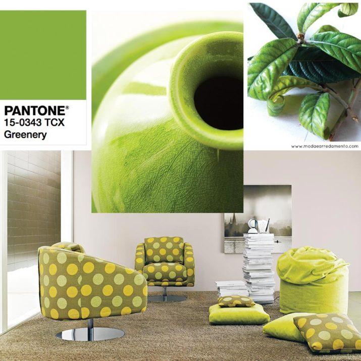 Pantone 2017 greenery in versione anni 70 in salotto: fantasie e proposte.