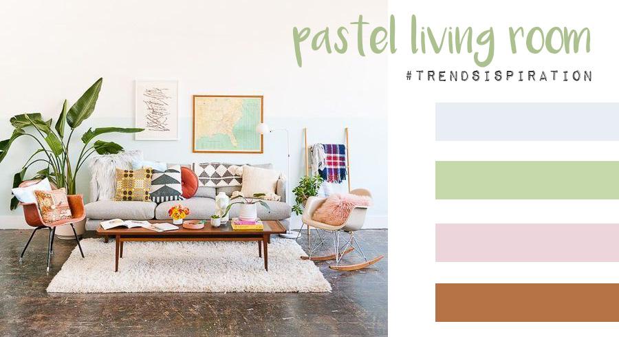 Colori pastello in soggiorno: isprirazioni e paletto colore.