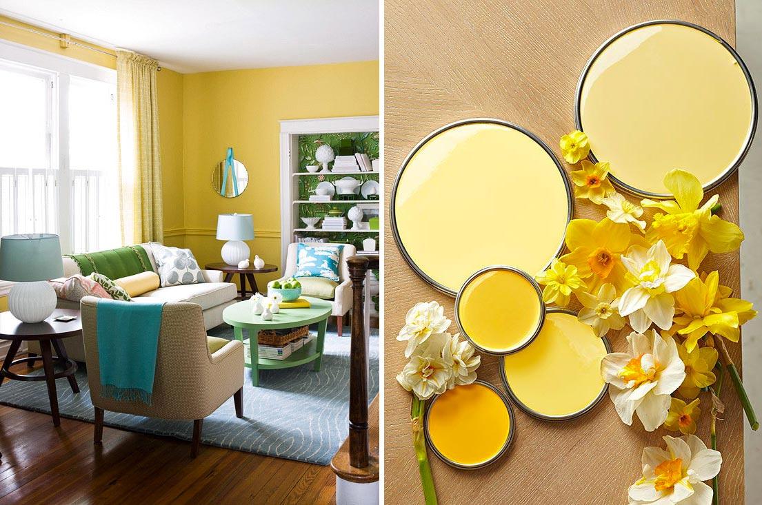 Tonalità di giallo per dipingere le parete di casa e il soggiorno.