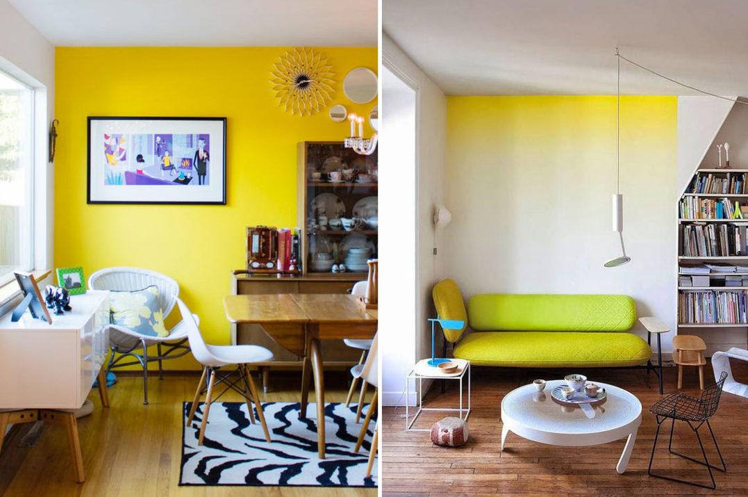 Parete gialla in tinta unita per sala da pranzo e parete sfumata gialla.