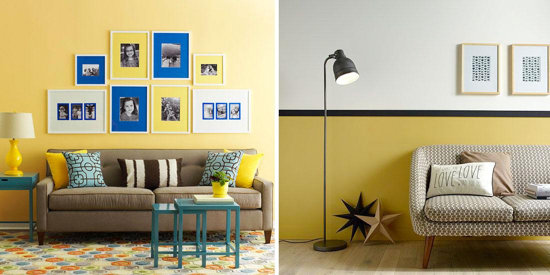 Parete Bordeaux E Gialla : Il living con la parete gialla salotto perfetto