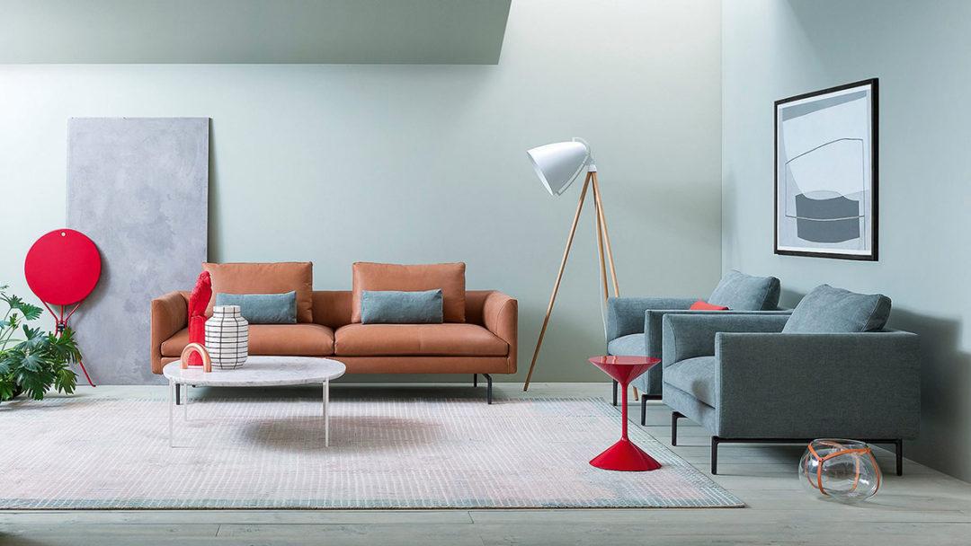 Zanotta interno azzurro divano cognac: colori pefetti per il divano 2017.