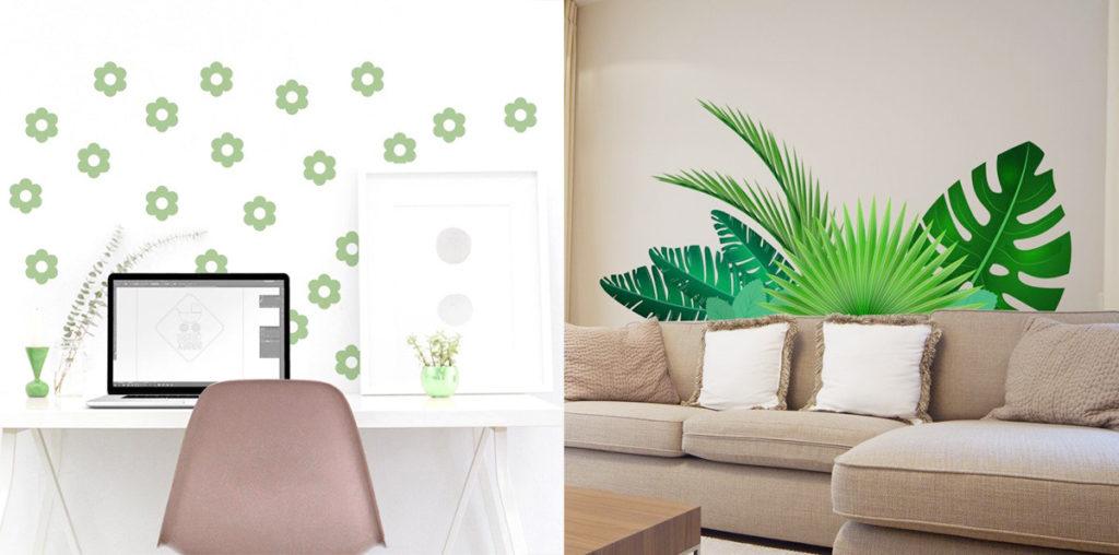 Decorare le pareti del soggiorno con gli adesivi murali: foglie e fiori.