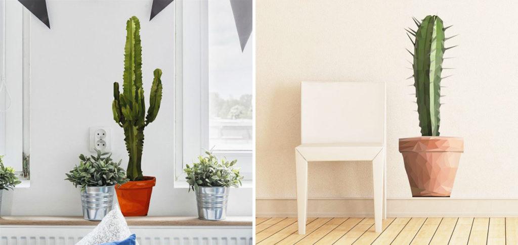 Decorare le pareti del soggiorno con gli adesivi murali: adesivo a cactus.