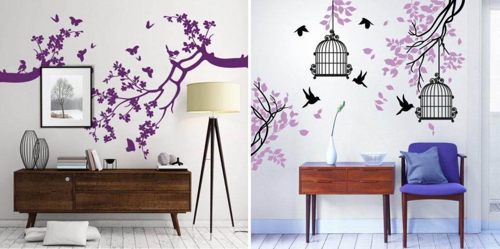 Adesivi murali con gabbie, uccellini e rami di foglie.