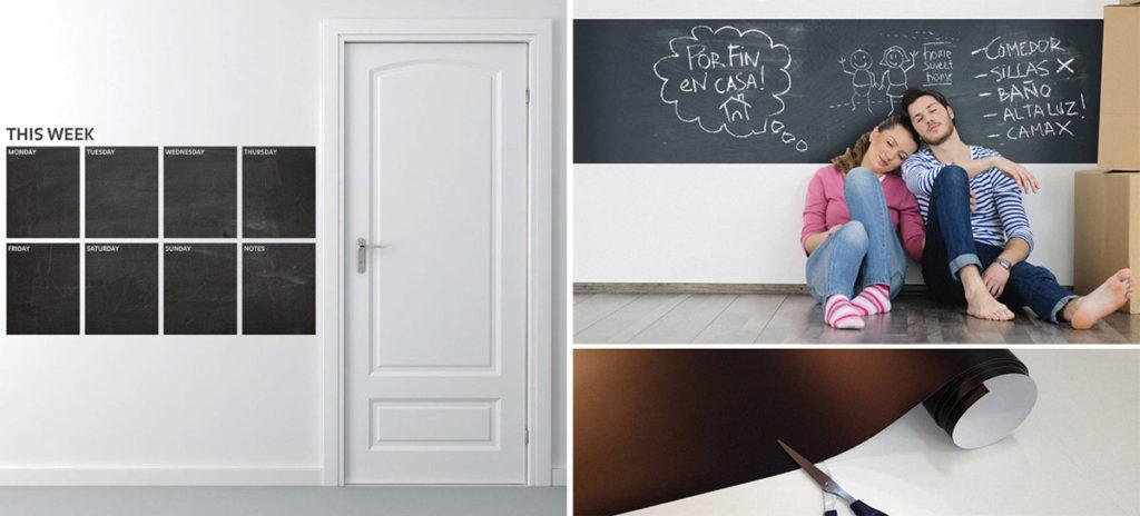 decorare le pareti del soggiorno con gli adesivi murali: adesivo lavagna al metro o utilizzato come lavagna appunti.