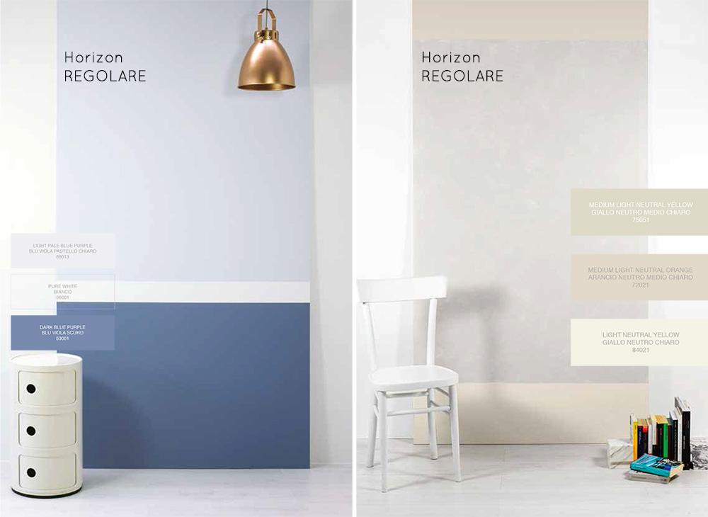 Differenza tra righe orizzontali regolari e irregolari nella decorazione delle pareti.