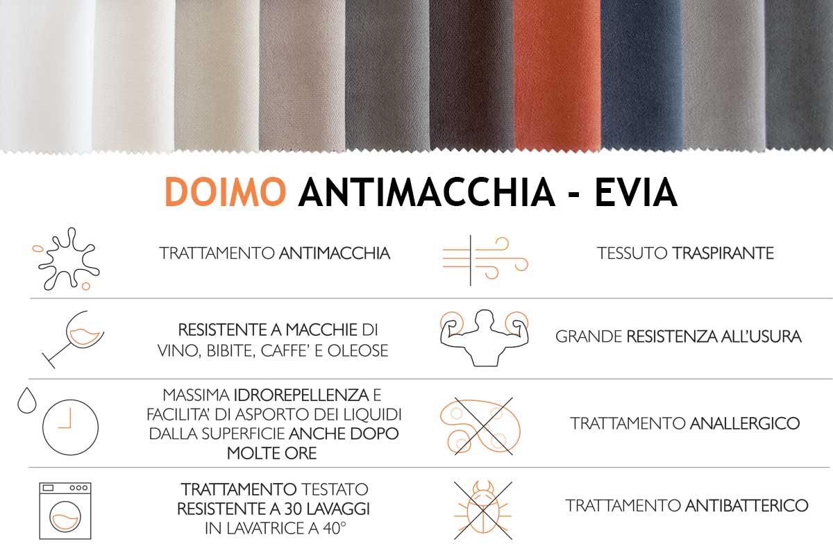 Doimo antimacchia Evia caratteristiche tecniche e colorazioni disponibili.