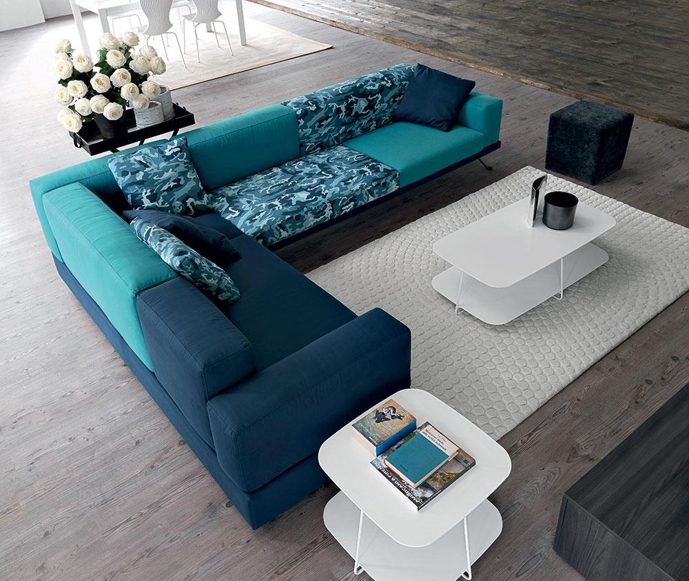 Doimo divano in fantasia comouflage verde ottanio.