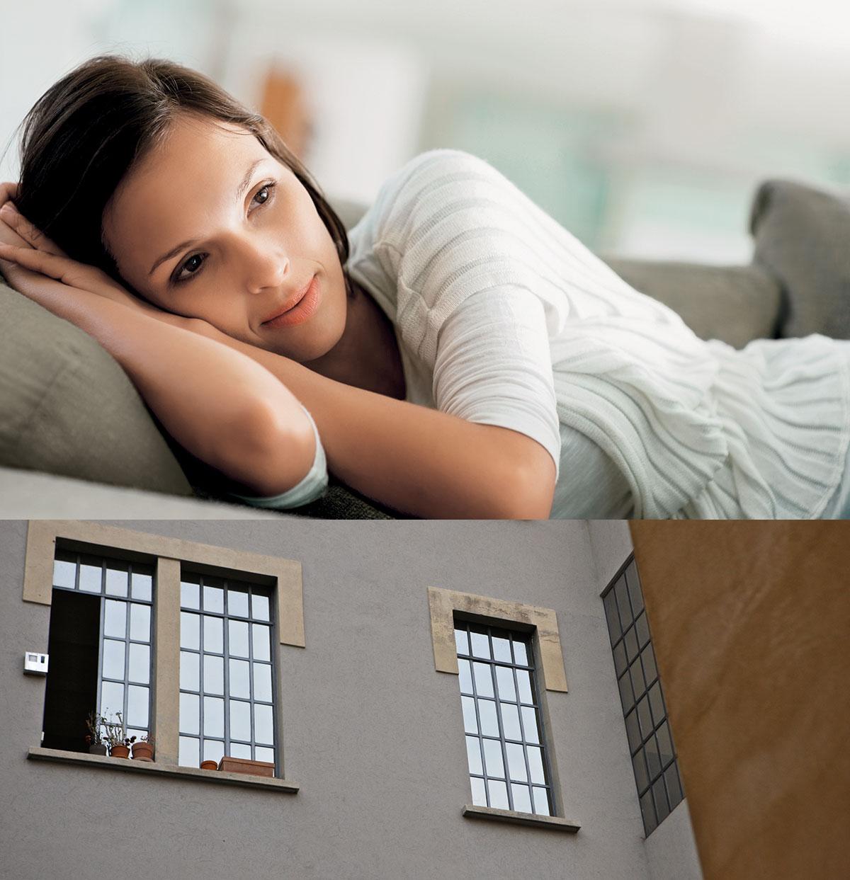 Giulia è la protagonista della seconda storia di divani in cui vi raccontiamo la scelta di un divano in tessuto simil nabuk.