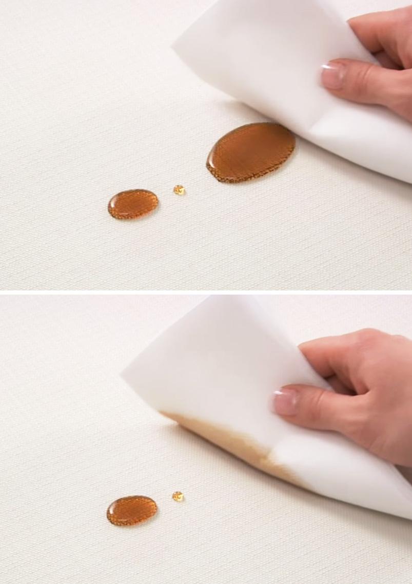 Togliere le macchie di caffè dal divano bianco, facile con i tessuti antimacchia.