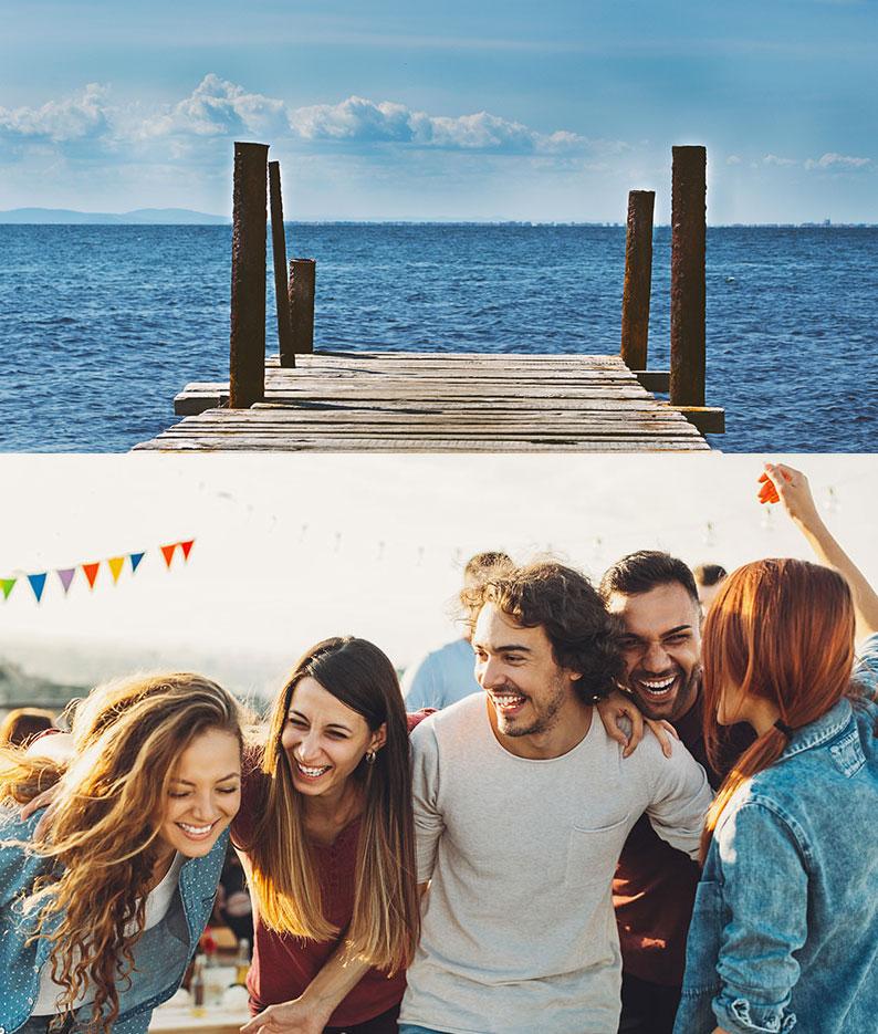 Ragazzi che fanno festa al mare.