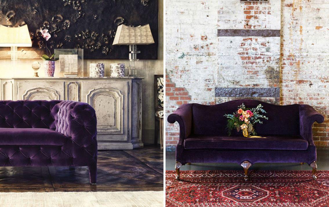 Il divano viola ultraviolet nella versione classica - Colore dell'anno 2018.