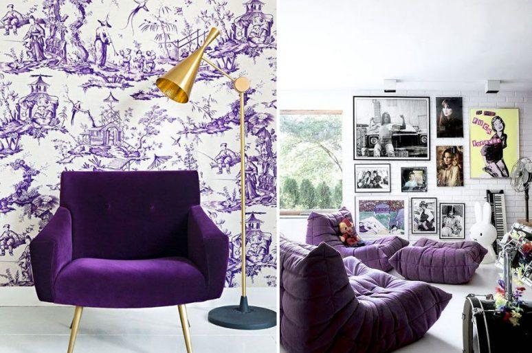 Il divano viola: colore dell'anno 2018.