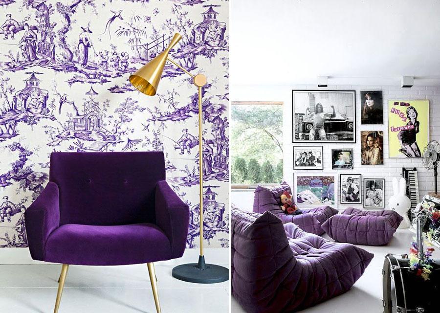 Divano viola ultraviolet in velluto per soggiorno moderno.
