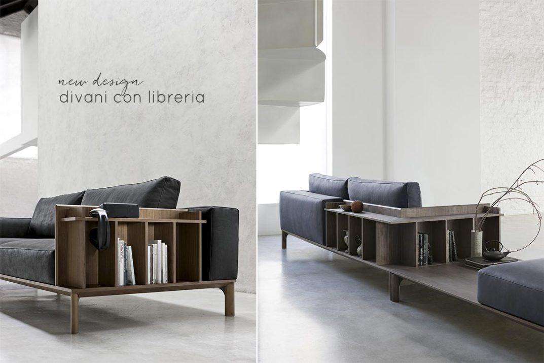 Divano con schienale libreria di Doimo Salotti modello in pelle.