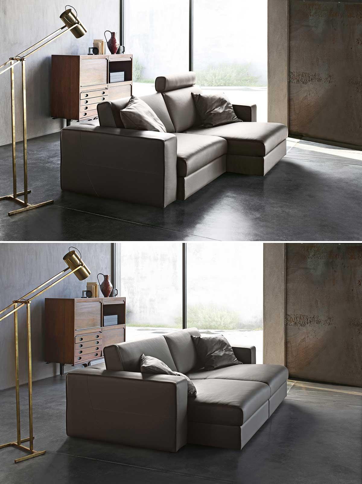 Divano con isola in pelle e sedili allungabili - Dimensione totale 246x115 cm - Attico.