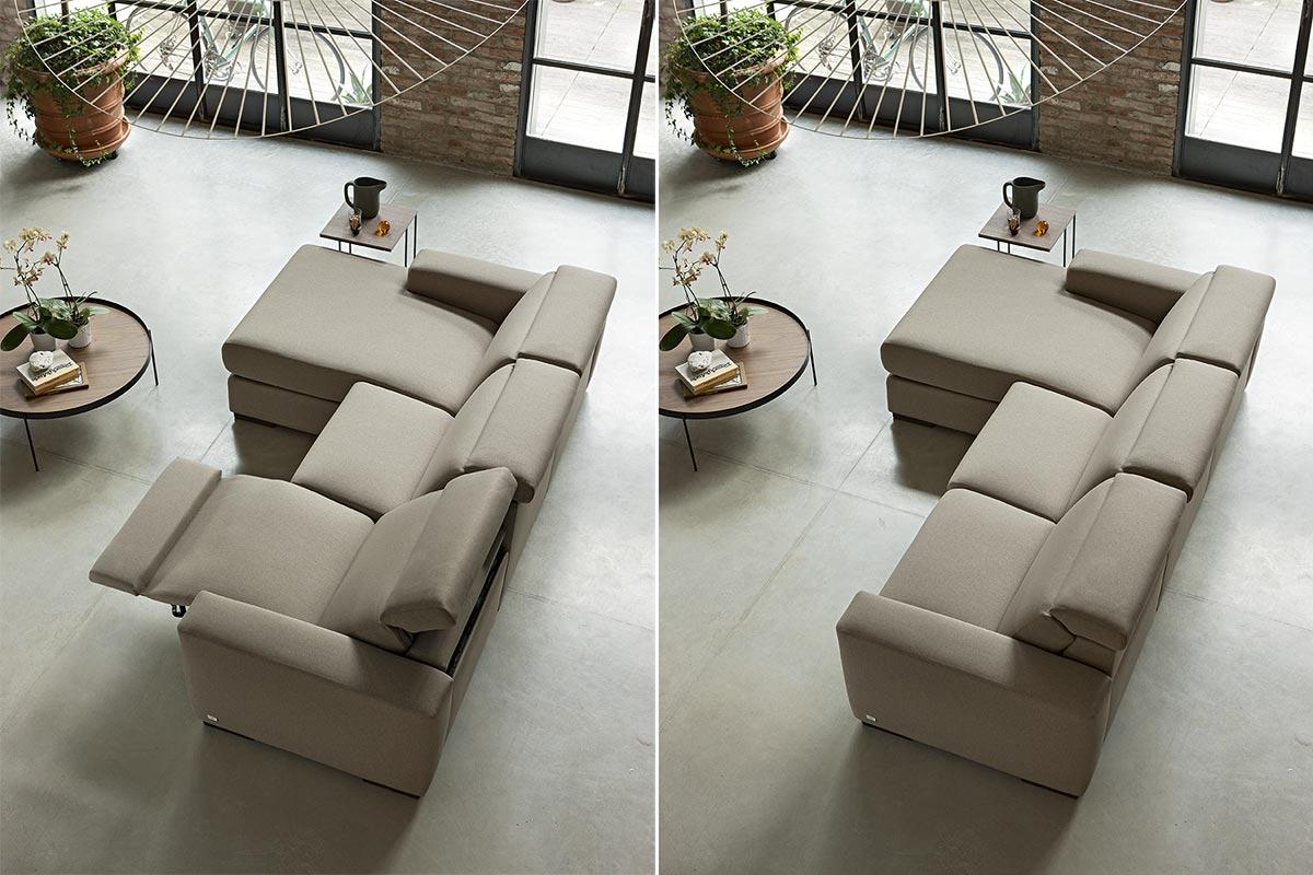 Divano con isola in tessuto e movimento relax - Dimensione totale 254x165 cm - Marvin.