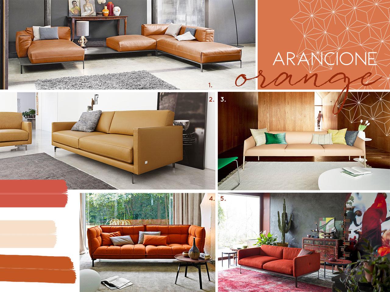 cinque divani arancioni ispirazioni e sfumature di colori.