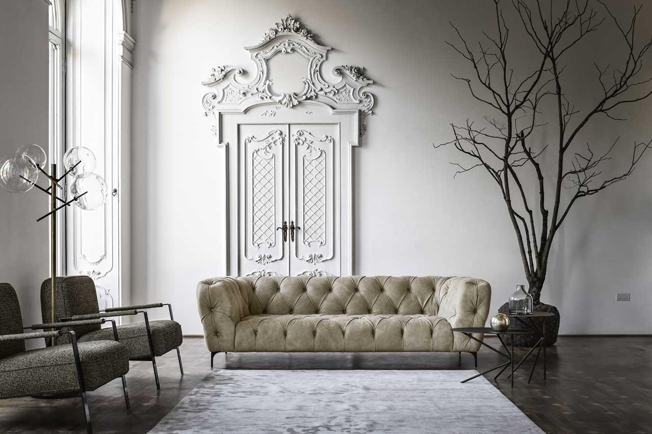 divano in pelle capitone Duomo Nicoline