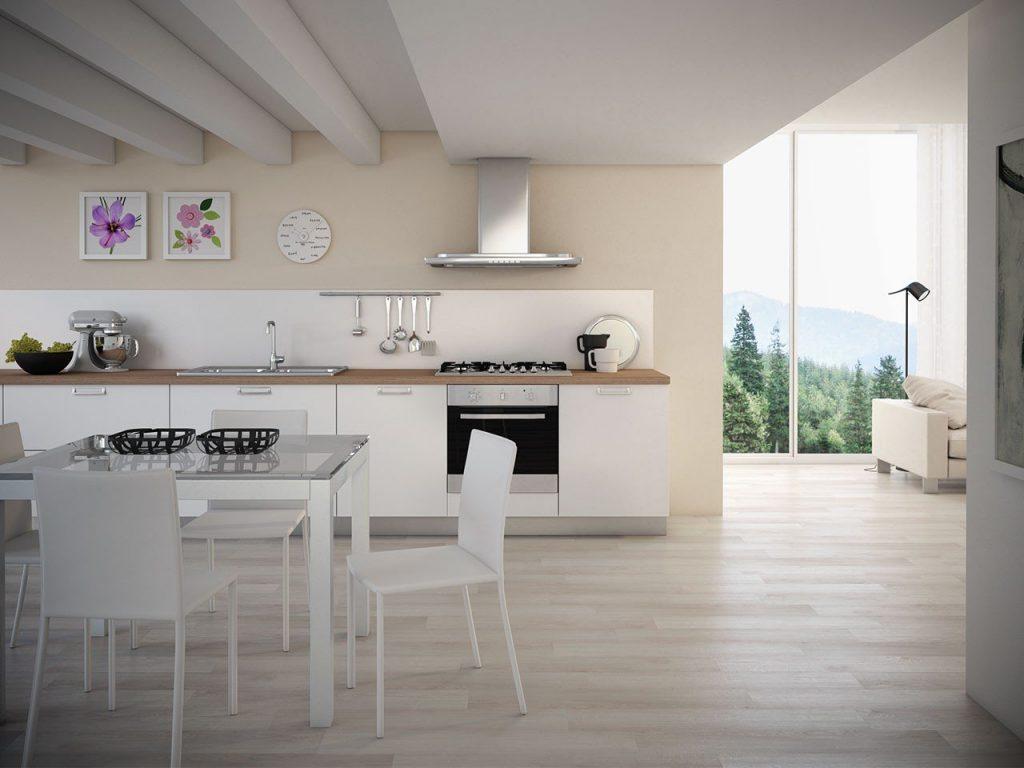 interno con cucina bianca e pavimento in pvc effetto legno - iperceramica